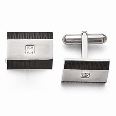 New Chisel Stainless Steel Brushed And Polished Black IP-Plated CZ Cuff Links #Chisel