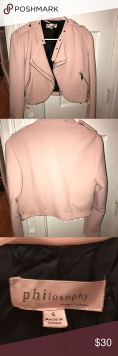 Philosophy light pink jacket Philosophy motorcycle modern style zippered light pink jacket. Size small. Bought new and never worn. Washed once but never worn. Realized it didn't fit my body type. Would be super cute on a slim body type. Super cute and modern! Philosophy Jackets & Coats