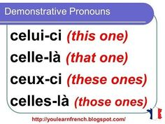French Lesson 147 – Demonstrative pronouns CELUI C… / dekoralife. Basic French Words, French Phrases, How To Speak French, Learn French, Learn English, English English, French Language Lessons, French Language Learning, French Lessons