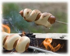 Six Sisters' Stuff: 25 Delicious Camping Recipes    This hotdogcreasantrolesituation looks good, minus the meat and add a fake hot dog.