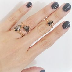 Dark diamond claw rings by Lauren Wolf Jewelry at ESQUELETO