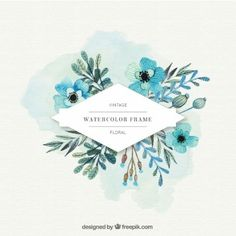 Watercolor flowers label in blue tones