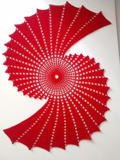 This item is ready to ship.  Red fractal is 23 long and 19 wide.  Made from 100% cotton.  This will add a unique style to any décor.  Handmade in the U.S.A.