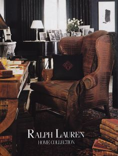 Ralph Lauren Home Collection 86 - black velvet pillow for the sofa. Maybe with embroidered bee? English Country Decor, Ralph Lauren, Living Spaces, Living Room, Interior Decorating, Interior Design, Office Interiors, Home Collections, Family Room