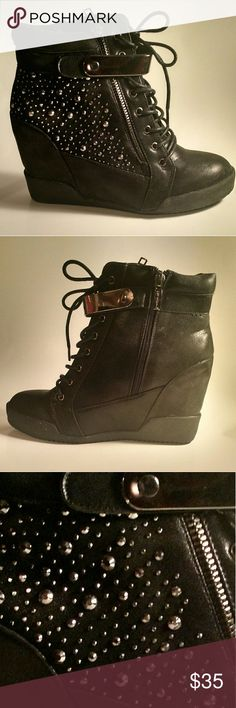 BLACK RHINESTONE SNEAKER WEDGES Faux leather material. Approximately 2.5 inch hidden wedge. Side zip closure. Rhinestone detail. Shoes Sneakers