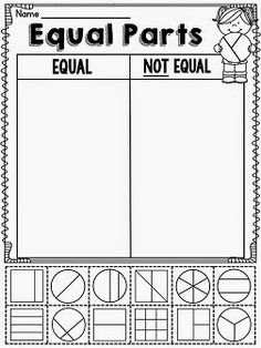 in First Grade Equal shares or not equal shares worksheets and activities for fractionsEqual shares or not equal shares worksheets and activities for fractions 3rd Grade Fractions, Teaching Fractions, Second Grade Math, Math Fractions, Teaching Math, Dividing Fractions, Grade 2, Fractions Worksheets, Equivalent Fractions