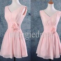 Elegant Knee Length Pink V-neck Handmade Flower Party Grown Bridesmaid Dresses,Party Dresses,Homecoming Dresses $88.00