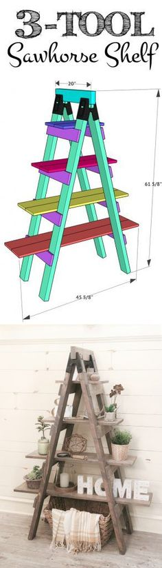 Plans of Woodworking Diy Projects - Build this Sawhorse Bookcase with only 3 tools! Free plans and how-to video at Get A Lifetime Of Project Ideas & Inspiration! Woodworking Projects Diy, Woodworking Plans, Woodworking Chisels, Woodworking Ornaments, Intarsia Woodworking, Workbench Plans, Learn Woodworking, Woodworking Furniture, Saw Horse Diy