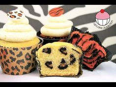 Safari INSIDE Cupcakes! How to Make Leopard & Tiger Print Surprise Insid...