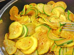 Zucchini and Yellow Squash saute'd in Harissa, smoke house seasoning, and garlic