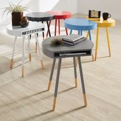 Marcella Paint-dipped Round End Table by MID-CENTURY LIVING | Overstock.com Shopping - The Best Deals on Coffee, Sofa & End Tables
