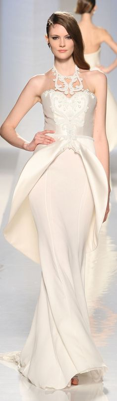 #Fausto #Sarli #haute #couture #white #gown #dress #long #sleeveless #lace #belt #satin #neckline