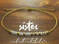 Gold Sister Morse Code Bracelet - Friendship Bracelet - Best Friend Gift - Best Friend Bracelet - Gift for Her - Sister Bracelet Cute Jewelry, Beaded Jewelry, Handmade Jewelry, Beaded Bracelets, Jewlery, Gold Jewellery, Best Friend Gifts, Gifts For Friends, Gifts For Her