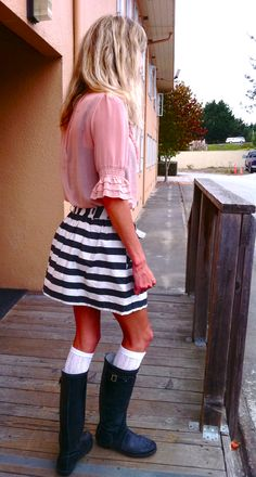 Skirt and Hunters.. Cuter if the skirt was polka dotted!