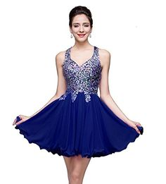 MisShow Juniors Short Crystal Chiffon Homecoming Prom Dress,Royal Blue,Size 12. Detailed Size Info Please Check Left Image,NOT Size Chart Link,if you are not sure of the size,one size up is a good idea. Material:Chiffon,Crystal. Neckline & Sleeve: Straps without sleeve. Occasion: cocktail, homecoming, prom, evening party, dance, other special occasions etc. MisShow is a registered brand,our dress is only sold and fulfilled by amazon.If the staffs you get are different with our page from...