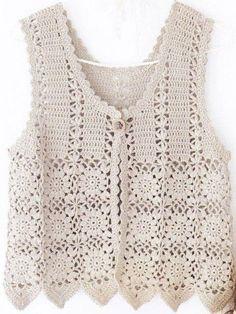 Crochet patterns: november Free crochet chart for this nice vest Gilet Crochet, Crochet Vest Pattern, Crochet Jacket, Crochet Chart, Crochet Cardigan, Crochet Motif, Crochet Stitches, Knitting Patterns, Knit Crochet