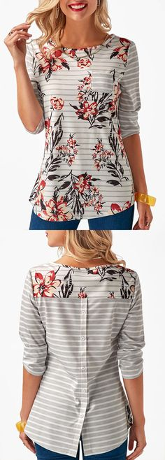 Love this shirt, cute back details and I like the two different patterns together. https://women-fashion-paradise.myshopify.com/