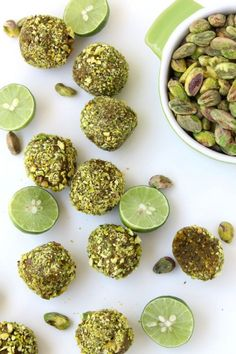 Raw Key Lime Pie Pistachio Bites - 3 ingredients away for a nutritious and delicious snack recipe. Healthy Recipes, Healthy Sweets, Raw Food Recipes, Healthy Snacks, Snack Recipes, Cooking Recipes, Meat Recipes, Diy Snacks, Yummy Snacks