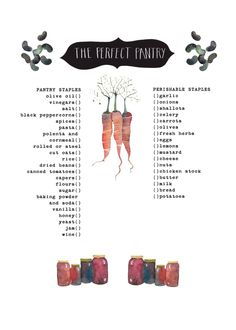 Alice Waters perfect pantry checklist // illustrated by Rebekka Seale