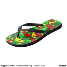 Reggae Rastafari Jamaica Weed Flag Pattern Flops Flip Flops
