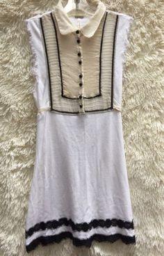 c0cf633495790 Free People Anthropologie Size Xs Blouse Tank Top Shirt Tie Peasant White  EUC