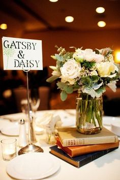 "Instead of table numbers, name each table after famous literary couples. I love the idea of a ""love story"" themed wedding!!"