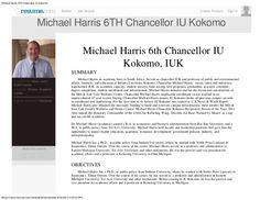 Michael Harris 6th Chancellor IU Kokomo, פרופסור וצ'נסלור מייקל הריס by Michael Harris Chancellor IU Kokomo