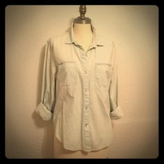 Gap Faded Denim Shirt In excellent condition.  Faded, pale denim.  No offers in comments, please. GAP Tops Button Down Shirts