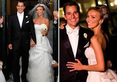 "Giuliana DePandi donned Monique Lhuillier's ""Peaches and Cream"" for her Italy wedding to Bill Rancic. The two-piece dress has a tulle skirt and flowered applique corset."