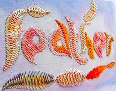 Feather stitch embroidery. Beautiful.