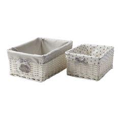 2 cestini intrecciati bianchi in vimini L 25 e L 31 cm THÉOPHILE