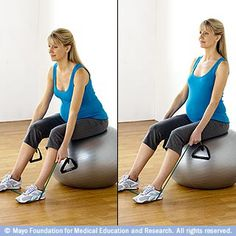 Seated dead lift with resistance tubing  If you'd like to try another exercise with resistance tubing, consider the seated dead lift. This exercise targets the muscles in your lower back.