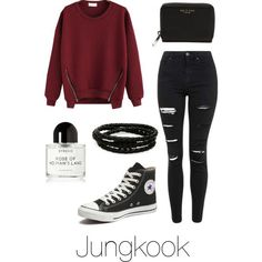 Valentines Day with Jungkook by btsoutfits on Polyvore featuring Topshop, Converse, rag  bone, Porsche Design and Byredo