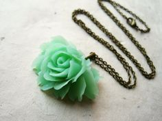 Jade Rose Necklace. Flower Pendant Necklace, Resin Flower Necklace, Resin Floral Jewellery, Vintage Inspired. Long Necklace.. $18.00, via Etsy.