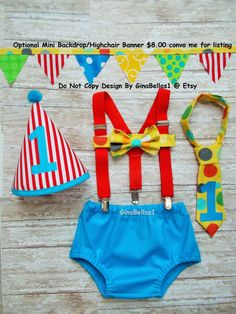Circus Birthday cake smash outfit carnival costume by GinaBellas1
