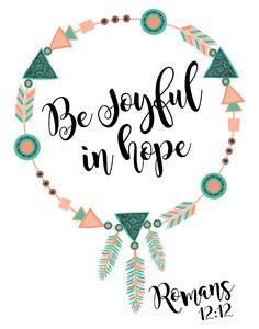 $5.00 Bible Verse Print - Be Joyful in Hope Romans 12:12 Being joyful as we're…