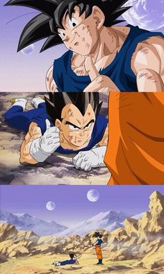 """We make a pretty good team, don't we!"" Vegeta and Goku"