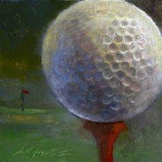 GOLF BALL ON TEA  6x6 , Oil -- Hall Groat II