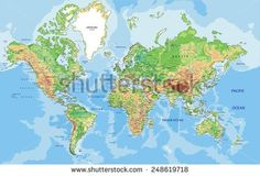 Highly detailed World map with labeling. Vector illustration.