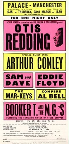 """Otis Redding - The Palace, Manchester."" Fantastic A4 Glossy Art Print Taken from A Vintage Concert Poster by Design Artist http://www.amazon.co.uk/dp/B0155WQS8U/ref=cm_sw_r_pi_dp_VPs8vb0BKV7HK"