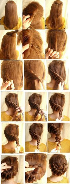 1. Start with hair down and brushed, section hair near the top of your head and clip away from the rest of your hair. 2.Take a section of hair from behind the ear and begin a braid along the back of your head, and braiding down. 3.Tie the end of the braid with a hair tie. 4. You can either leave the braid hanging and decorate with a ribbon or bow. 5.Or you can twist the braid up into a braided updo and pin using bobby pins.