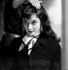 ": ""Audrey Hepburn tries on brunette wig for a scene in Roman Holiday, 1953. """