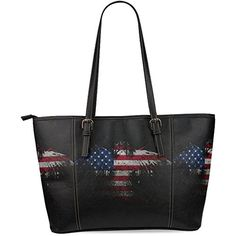 InterestPrint American Eagle Flag Women's Leather Tote Shoulder Bags Handbags ** For more information, visit image link.
