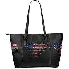 InterestPrint American Eagle Flag Women's Leather Tote Shoulder Bags Handbags ** For more information, visit image link.