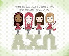 love this new look with the polka dots! Alpha Chi Omega Art Print.