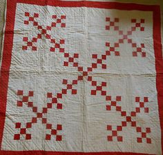 Antique Primitive Red White Patchwork Crib Wall Quilt Awesome for The Holidays ...~♥~