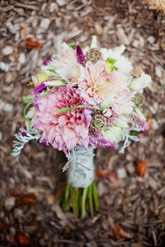 scabiosa pods and dahlias. Don't forget the dusty miller.