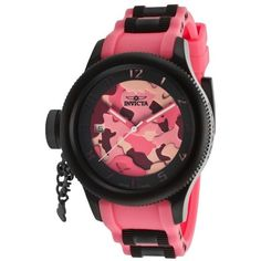 Invicta Women's Russian Diver Pink Camouflage Dial Pink Polyurethane $120