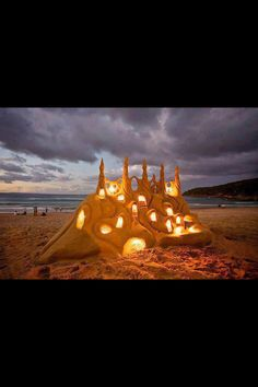 Cool lit sandcastle!! ❤