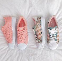 Wheretoget - Pastel pink Adidas Superstar sneakers and pastel print Adidas Superstar sneakers